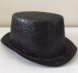 Csillógós fekete kalap