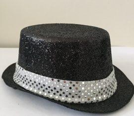 Csillógós fekete kalap ezüst csíkkal